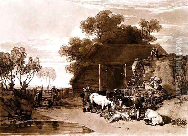 The Straw Yard, from the Liber Studiorum, engraved by Charles Turner, 1808 Oil Painting - Joseph Mallord William Turner