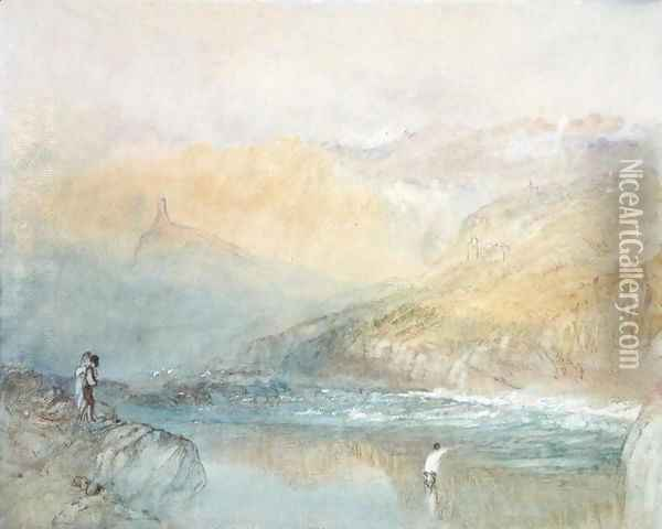 On the Mosell, near Traben Trarabach, c.1841 Oil Painting - Joseph Mallord William Turner