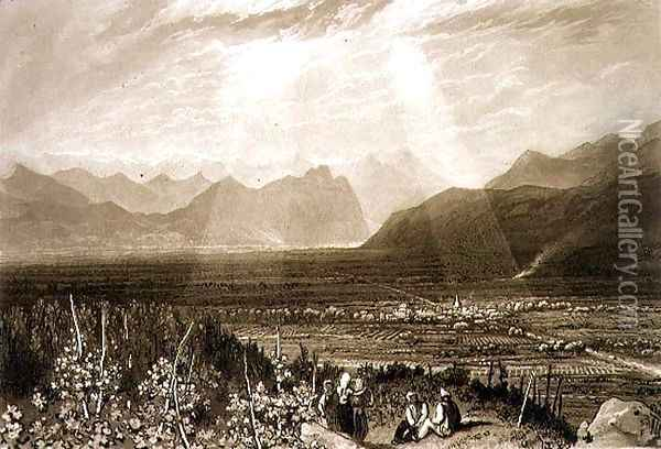 Chain of Alps from Grenoble to Chamberi, from the Liber Studiorum, engraved by William Say, 1812 Oil Painting - Joseph Mallord William Turner