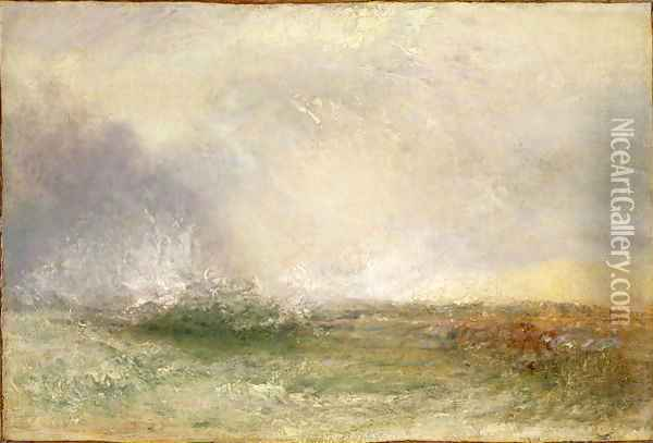 Stormy Sea Breaking on a Shore, 1840-5 Oil Painting - Joseph Mallord William Turner