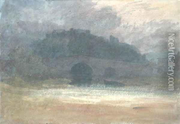 Evening Landscape with Castle and Bridge in Yorkshire, c.1798-99 Oil Painting - Joseph Mallord William Turner