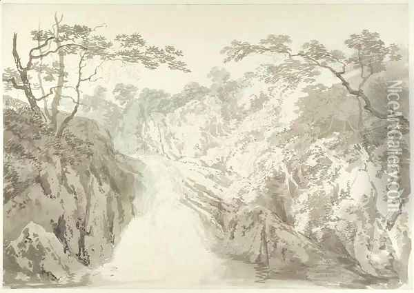 Landscape with Waterfall, c.1796 Oil Painting - Joseph Mallord William Turner