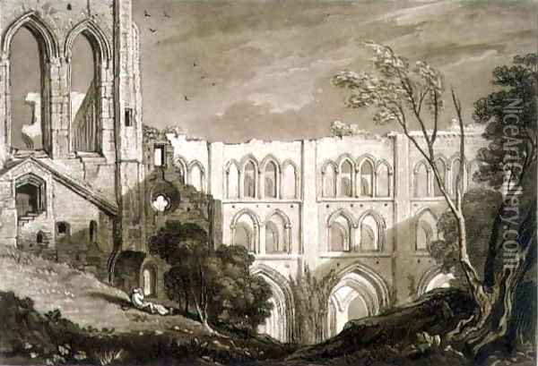 Rivaulx Abbey, from the Liber Studiorum, engraved by Henry Dawe, 1812 Oil Painting - Joseph Mallord William Turner