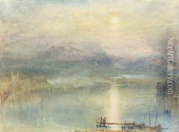 The Lake of Lucerne, Moonlight, the Rigi in the Distance, c.1841 Oil Painting - Joseph Mallord William Turner