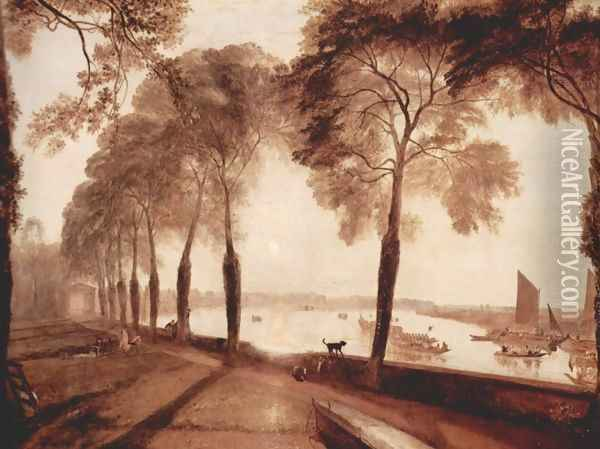 Mortlake Terrace, the home of W. Sliam Moffat, Sommerarbend Oil Painting - Joseph Mallord William Turner