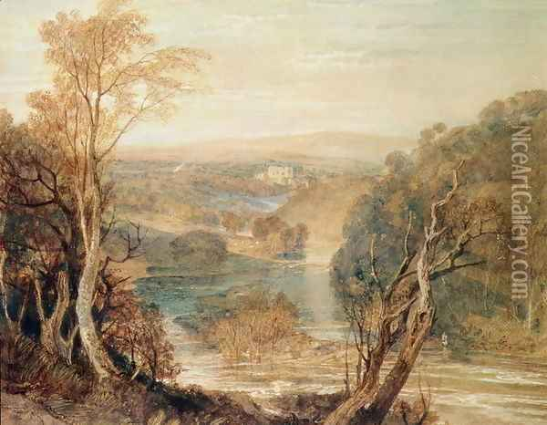 The River Wharfe with a distant view of Barden Tower Oil Painting - Joseph Mallord William Turner