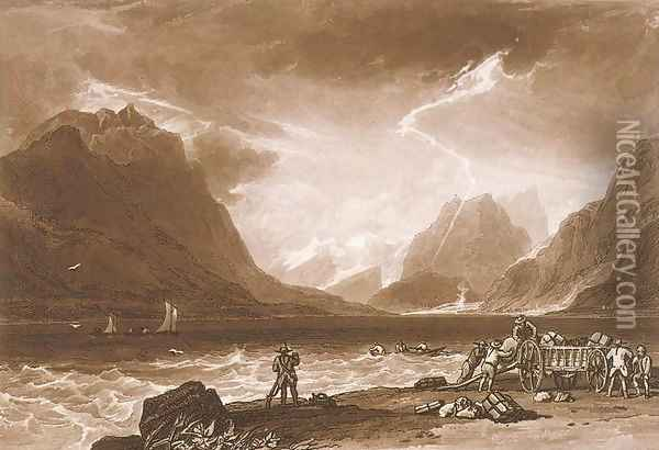 Lake of Thun, from the Liber Studiorum, engraved by Charles Turner, 1808 Oil Painting - Joseph Mallord William Turner