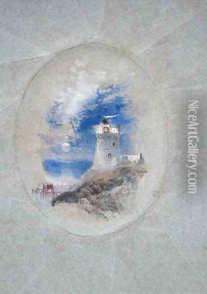 Lowestoffe Lighthouse, c.1827 Oil Painting - Joseph Mallord William Turner