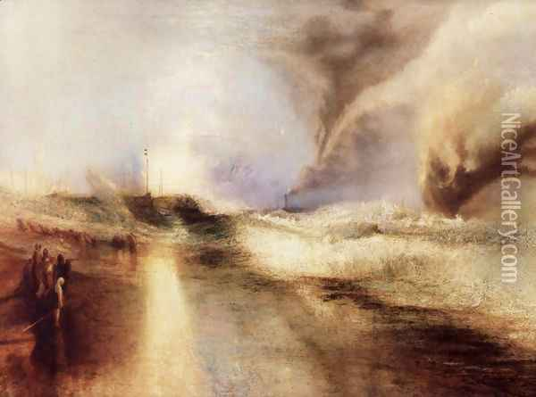 Flares with rough sea Oil Painting - Joseph Mallord William Turner