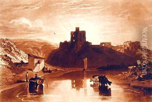 Norham Castle, engraved by Charles Turner 1773-1857 1859-61 Oil Painting - Joseph Mallord William Turner