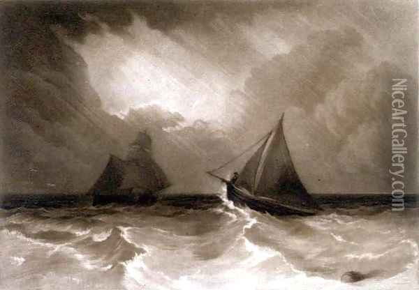 Ship and Cutter, from the Little Liber, engraved by the artist, c.1826 Oil Painting - Joseph Mallord William Turner