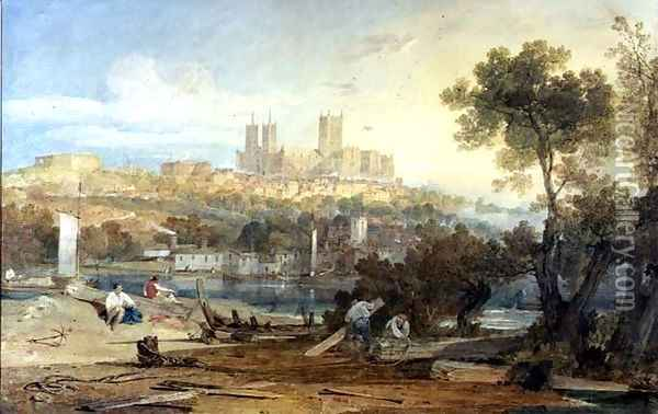 View of Lincoln Oil Painting - Joseph Mallord William Turner