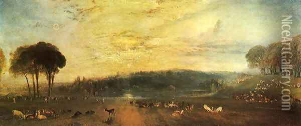 The Lake, Petworth: sunset, fighting bucks Oil Painting - Joseph Mallord William Turner