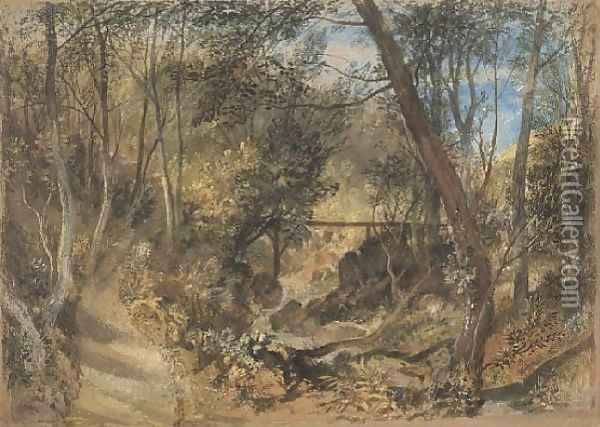 The Woodwalk, Farnley Hall, c.1818 Oil Painting - Joseph Mallord William Turner