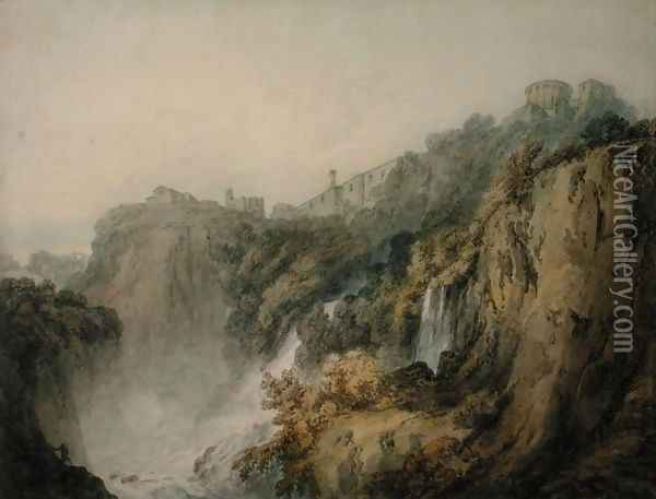 Tivoli with the Temple of the Sibyl and the Cascades, c.1796-97 Oil Painting - Joseph Mallord William Turner