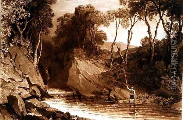 Near Blair Athol, from the Liber Studiorum, engraved by William Say, 1811 Oil Painting - Joseph Mallord William Turner