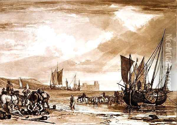 Scene on the French Coast, from the Liber Studiorum, engraved by Charles Turner, 1807 Oil Painting - Joseph Mallord William Turner