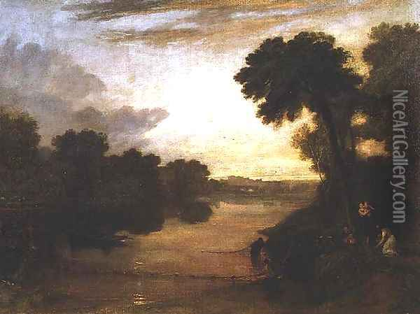 The Thames near Windsor, c.1807 Oil Painting - Joseph Mallord William Turner