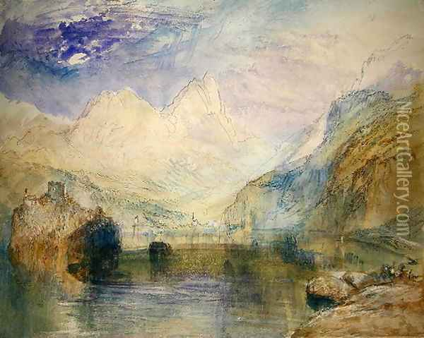 The Lauerzersee with Schwyz and the Mythen Oil Painting - Joseph Mallord William Turner