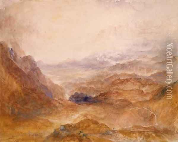 View along an Alpine Valley, possibly the Val d'Aosta Oil Painting - Joseph Mallord William Turner