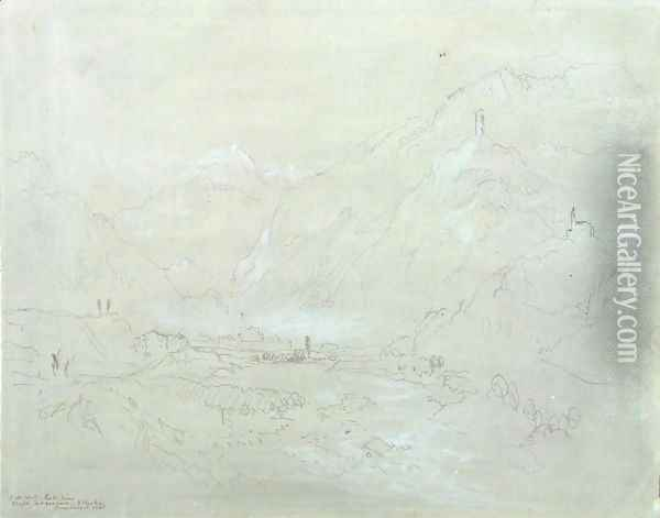 Mountainous Landscape with Town in Valley, c.1840 Oil Painting - Joseph Mallord William Turner