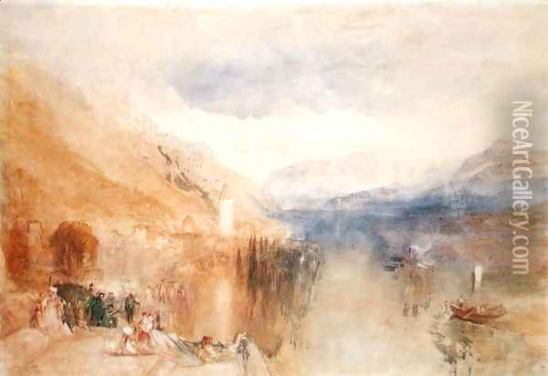Oberhofen, Lake Thun, c.1848 Oil Painting - Joseph Mallord William Turner