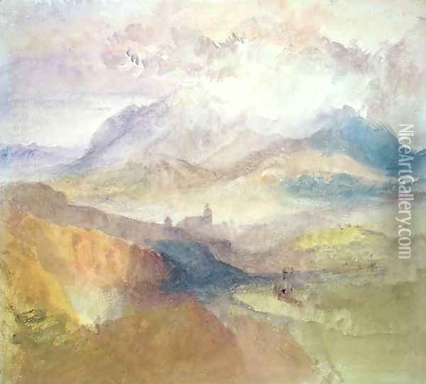 View along an Alpine Valley, possibly the Val d'Aosta 2 Oil Painting - Joseph Mallord William Turner