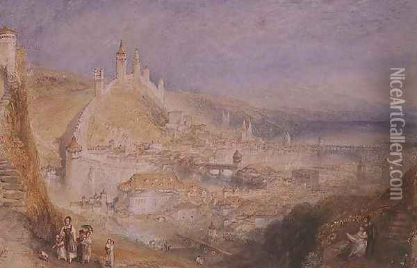 Lucerne from the Walls, c.1841 Oil Painting - Joseph Mallord William Turner