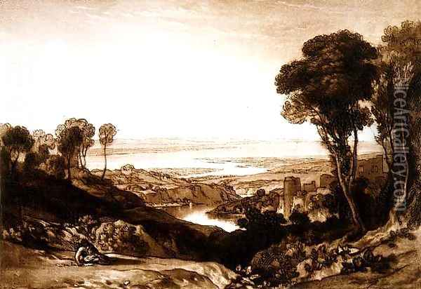 Junction of Severn and Wye, from the Liber Studiorum, 1811 Oil Painting - Joseph Mallord William Turner