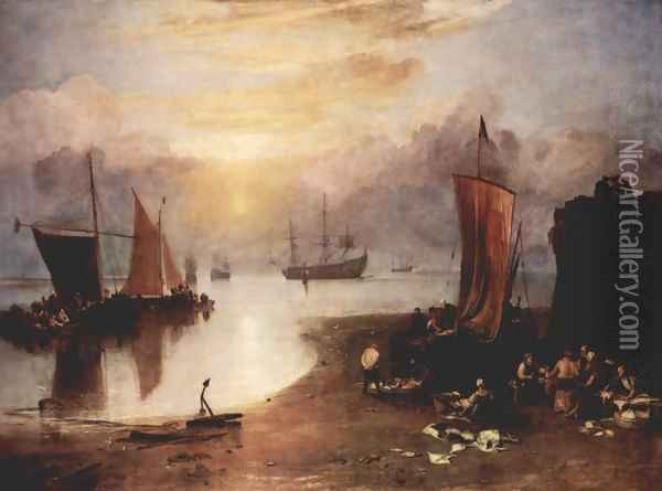 In the morning mist rising sun and fishermen, when cleaning the fish sale Oil Painting - Joseph Mallord William Turner