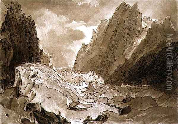 Mer de Glace, Valley of Chamouni, Savoy, from the Liber Studiorum, engraved by the artist, 1812 Oil Painting - Joseph Mallord William Turner