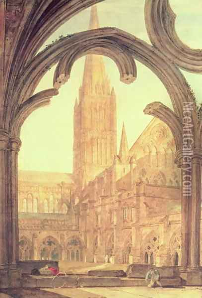 South View of Salisbury Cathedral from the Cloisters Oil Painting - Joseph Mallord William Turner