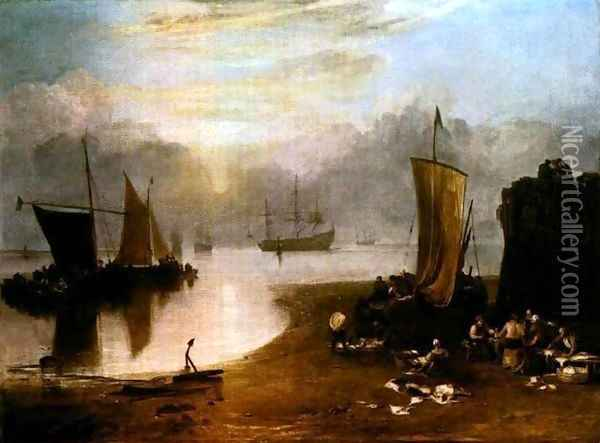 Sun Rising Through Vapor, Fisherman Cleaning and Selling Fis Oil Painting - Joseph Mallord William Turner