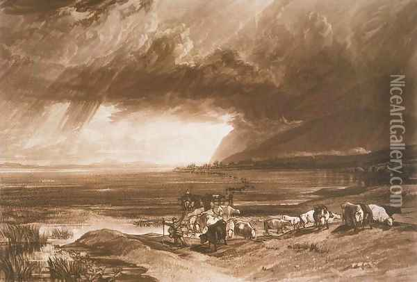 Solway Moss, from the Liber Studiorum, engraved by Thomas Lupton, 1816 Oil Painting - Joseph Mallord William Turner