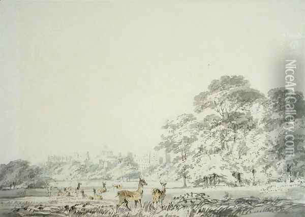 Windsor Castle and Park with Deer Oil Painting - Joseph Mallord William Turner