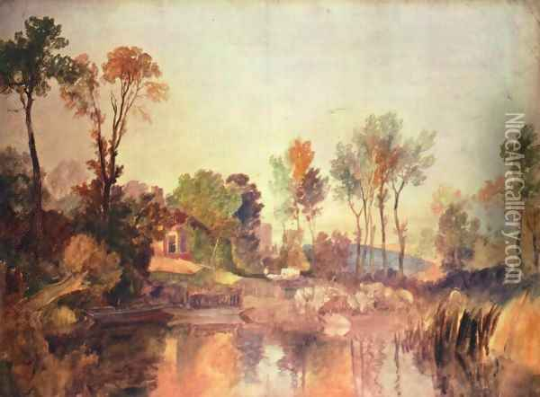 House at the river with trees and a sheep Oil Painting - Joseph Mallord William Turner