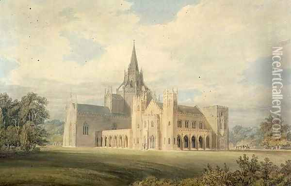 Perspective View of Fonthill Abbey from the South West, c.1799 Oil Painting - Joseph Mallord William Turner