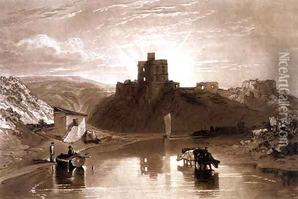 Norham Castle on the River Tweed, from the Liber Studiorum, engraved by Charles Turner, 1816 Oil Painting - Joseph Mallord William Turner