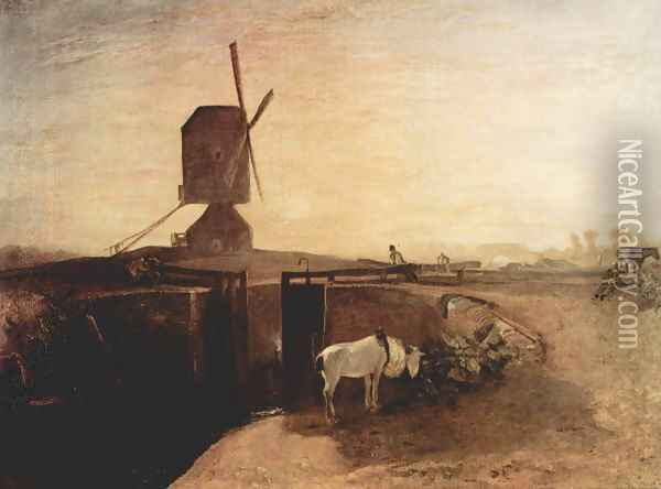 The large channel connection with Southall Mill Oil Painting - Joseph Mallord William Turner