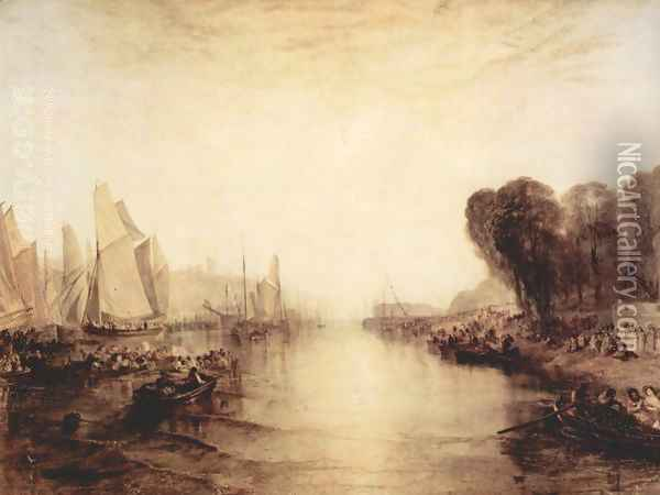 Lock East Cowes, the domicile of J. Nash, the Regatte gets ready Oil Painting - Joseph Mallord William Turner