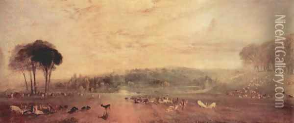 The lake, Petworth, sunset and goats Oil Painting - Joseph Mallord William Turner