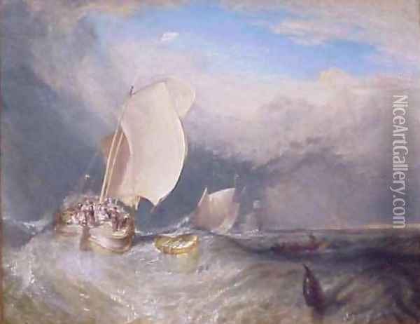 Fishing Boats with Huckster Bargaining for Fish Oil Painting - Joseph Mallord William Turner