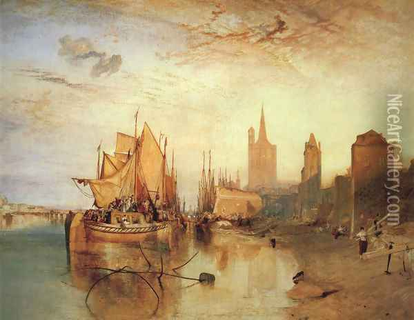 Cologne The Arrival of a Packed Boat Evening 1826 Oil Painting - Joseph Mallord William Turner