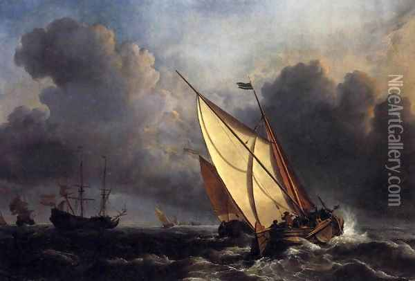 Dutch Fishing Boats in a Storm Oil Painting - Joseph Mallord William Turner