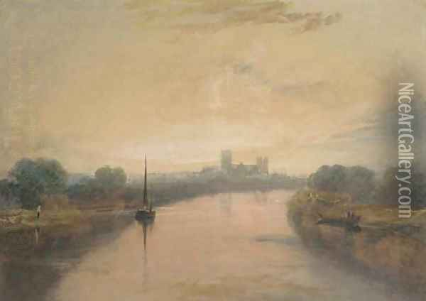 On the River Ouse, with a view of York Minster in the distance Oil Painting - Joseph Mallord William Turner