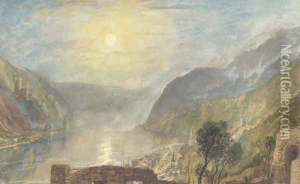 From Rheinfels looking over St. Goar to Burg Katz, Germany Oil Painting - Joseph Mallord William Turner