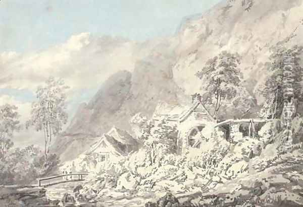 Boot Mill in Eskdale on Whillan Beck, Lake District Oil Painting - Joseph Mallord William Turner