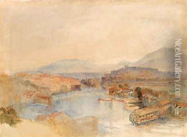 Geneva from the West, from the junction of the Arve and the Rhone Oil Painting - Joseph Mallord William Turner
