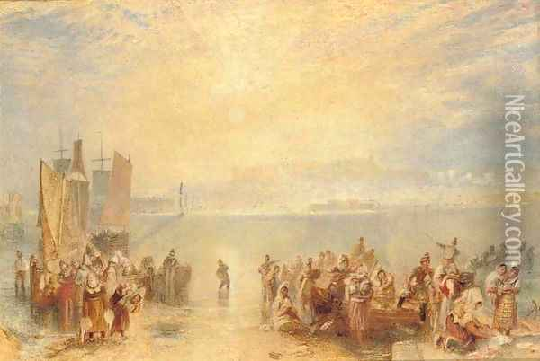 Granville Fisherfolk on the beach at sunset Oil Painting - Joseph Mallord William Turner