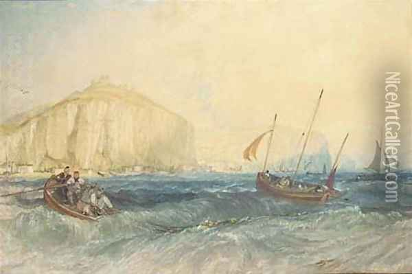 Fishing boats off Hastings Oil Painting - Joseph Mallord William Turner